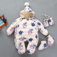 Newborn Warm Baby Rompers Plush Hooded Children S Jumpsuit For Baby Girls Autumn Winter Warm Baby