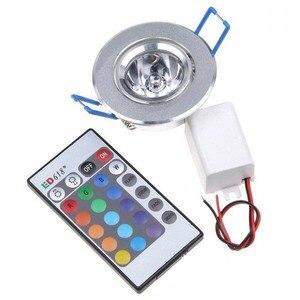 Image 2 - 10pcs LED אור נורות מנורת 3W RGB 16 צבעים ספוט אור AC85 265V + IR שלט רחוק RGB LED תקרת Downlight