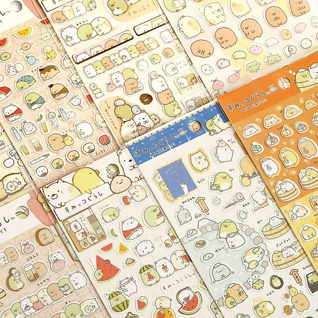 1 Pc / Pack Bronzing Kawaii Scrapbooking Corner Creature Planner Stickers/decoration Label/cartoon Korea Stationery / San-x