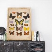 Cuadro sobre lienzo para pared con ilustración antigua de insectos impresos y carteles Vintage de mariposas para decoración del hogar y la sala de estar