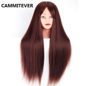CAMMITEVER 20 Inch Brunette Mannequin Head Hair Synthetic Cosmetology Mannequin Manikin Training Head Model with Head Holder