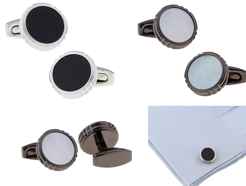Men's Cuff Links white silver black Round Cufflinks for shirt  L1627