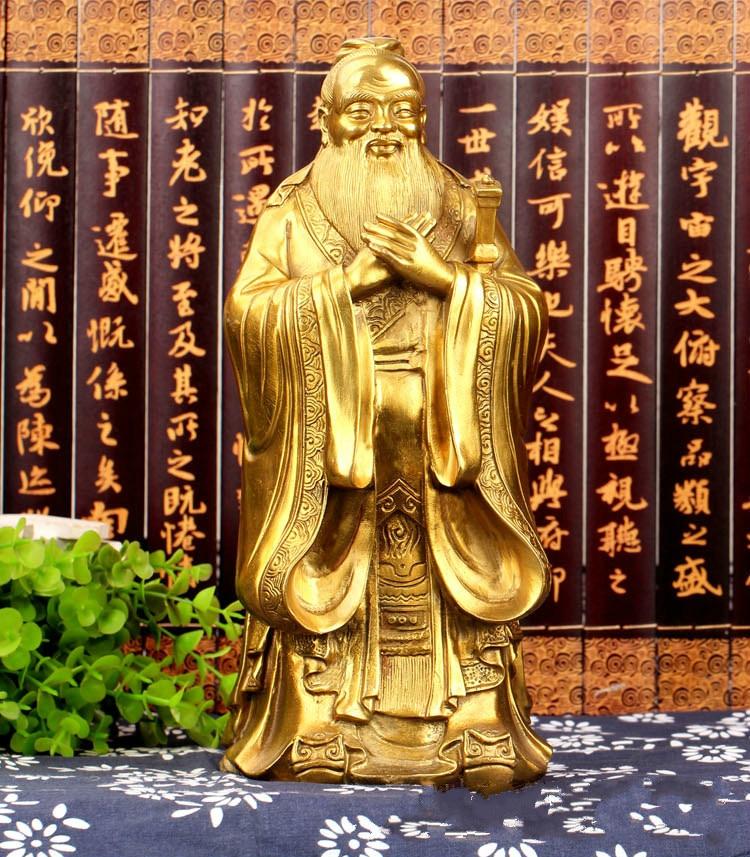 Pure Copper Confucius Statue Decoration Confucius Bronze Statue To Help School Study Office Home Decoration Crafts Furnishings