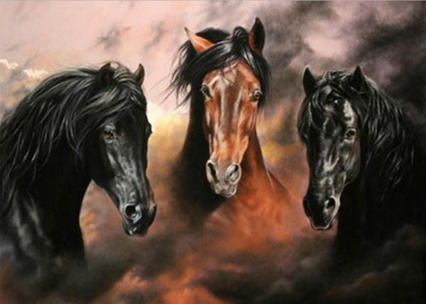 Craft 5D diamond painting horse resin mosaic diamond painting whole picture drill diamond needlework embroidery animal YZ525