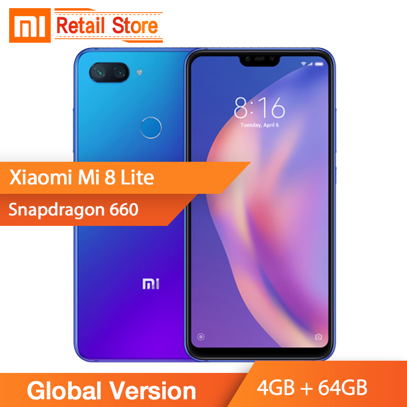 In Stock Global Version Xiaomi Mi 8 Lite Mobile Phone 4GB RAM 64GB ROM Snapdragon 660 Octa Core 24MP Front Camera 6.26