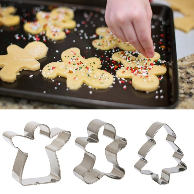 kitchen stainless steel christmas cookie cutter candy biscuit mold christmas theme metal cutters mould snowflake cooking - Metal Christmas Cookie Cutters