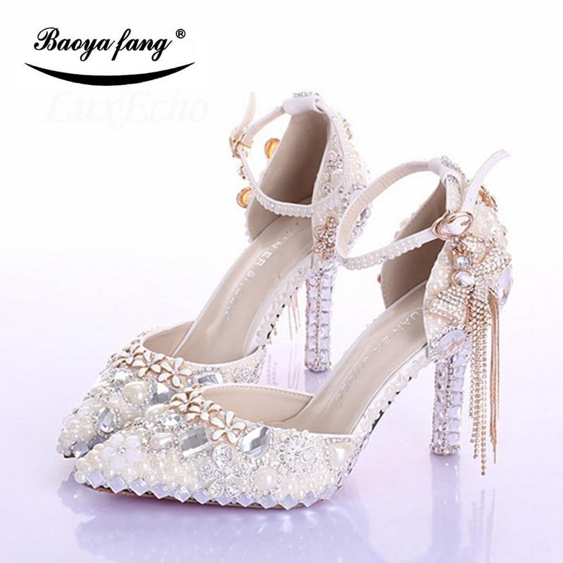 Mode Frauen perle Perlen Hochzeit schuhe Braut party kleid