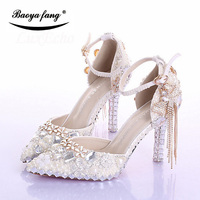 Womens Wedding Shoes New Arrival Fashion Sandals Woman Thin Heel Tassel Crystal Party Dress Shoes Woman