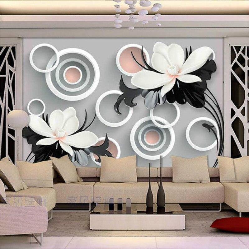 3d stereoscopico personalizzato minimalista nero bianco stile del fiore in rilievo 3d carta da - Carta da parati decorativa ...