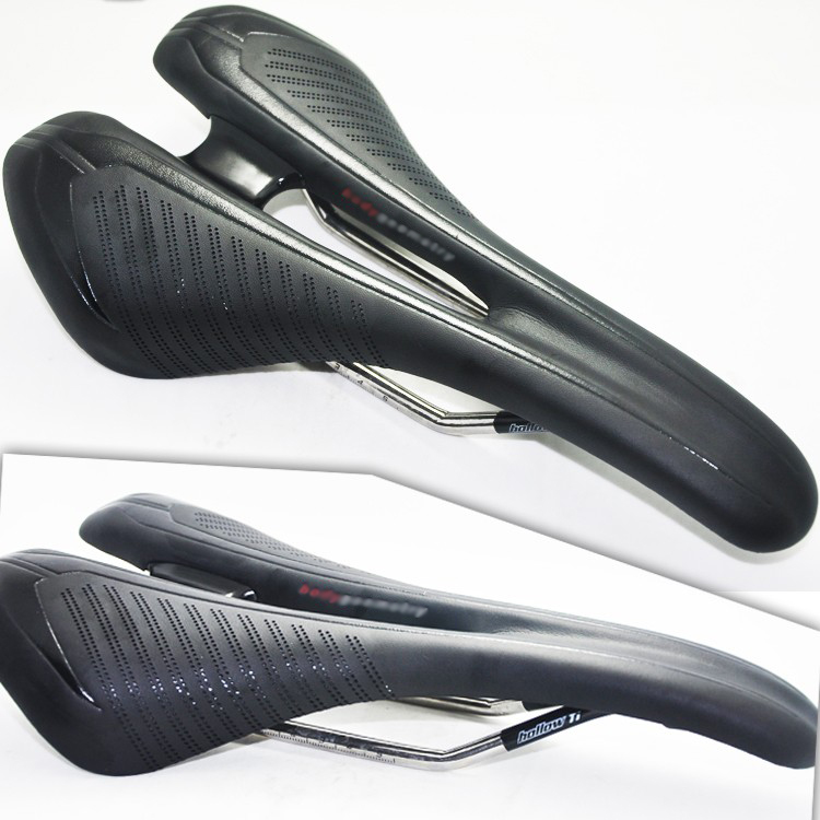 New arrival high end top quality  breathable 270*143mm 245g classic mtb titanium rail fiberglass leather bicycle saddle top quality hygroscopic breathable