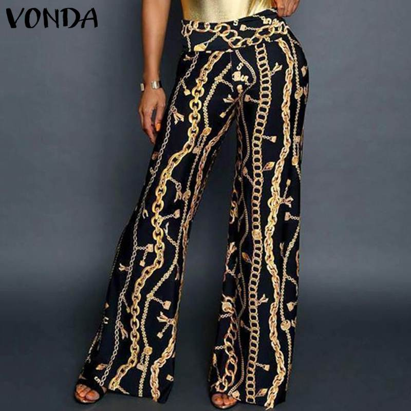 VONDA 2019 Women   Wide     Leg     Pants   Loose Long Holiday Chain Totem Printing Trousers Mujer Leisure Elastic Waist   Pants   Plus Size