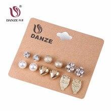 DANZE 6 Pairs/lot Punk Bohemian Stud Earrings Set Women Vintage Owl Heart Disco Ball Ear Studs Crystal Brincos Aros Jewelry
