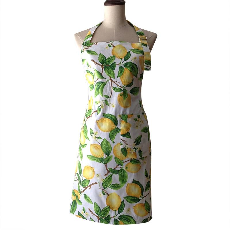 Retro sárga citrom Vintage női konyhai főzés kötény Avental de Cozinha Divertido Tablier konyha Pinafore kötény