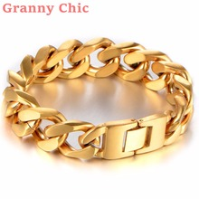 Granny Chic 8.66″ Fashion 17mm Wide Gold color Cut Curb Cuban Link 316L Stainless Steel Bracelet Mens Boys Unisex Heavy Jewelry