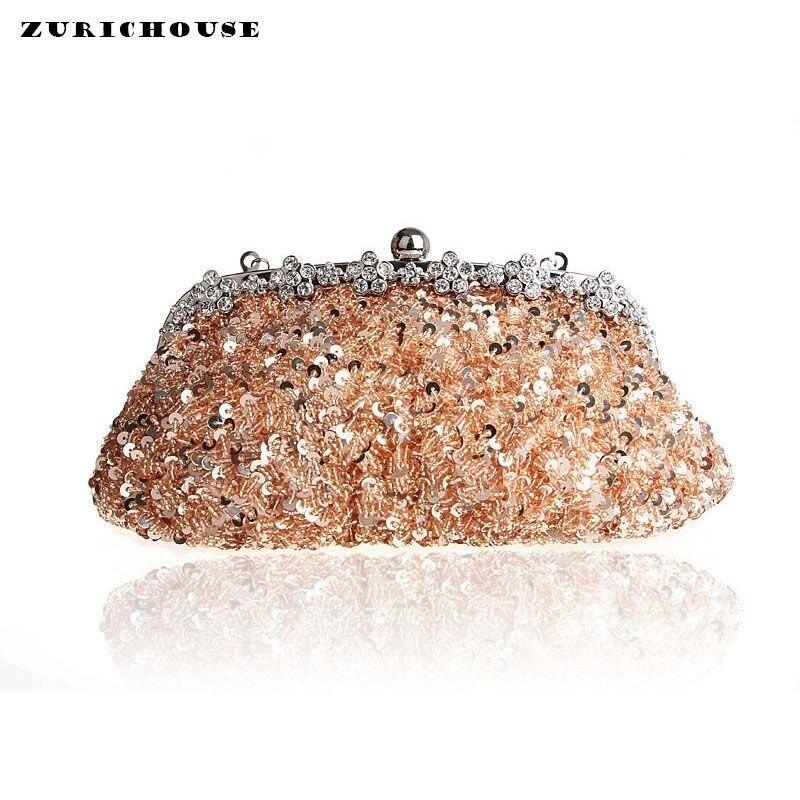 ZURICHOUSE petites dames sacs à main perlé paillettes de haute qualité à la main diamant mariage sac de soirée pochette sac à main mariée maquillage sac