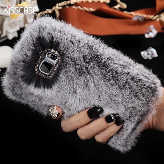 KISSCASE For Samsung Galaxy Note 5 N9200 Bling Diamond Rhinestone Rabbit Fur Fluffy Note 5 Cover Girl Lady Soft Anti-shock Case
