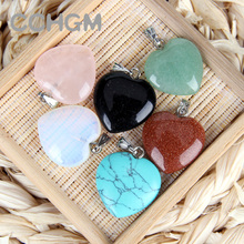 Wholesale 2017 Assorted fashion mixed color natural stone crystal charms pendants heart for jewelry making Good Quality necklace(China)