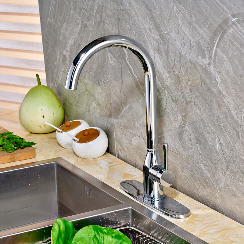High-grade Kitchen Sink Mixer Faucet with Hole Cover Plate Chrome Finish Deck Mounted wholesale and retail kitchen faucet chrome finish brushed nickel deck mounted with hole cover plate