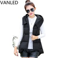 2017 Limited Sale Solid Pockets Casual Chalecos Mujer Winter Large Size Waistcoat Women's Cotton Vest Hooded Horse Jacket