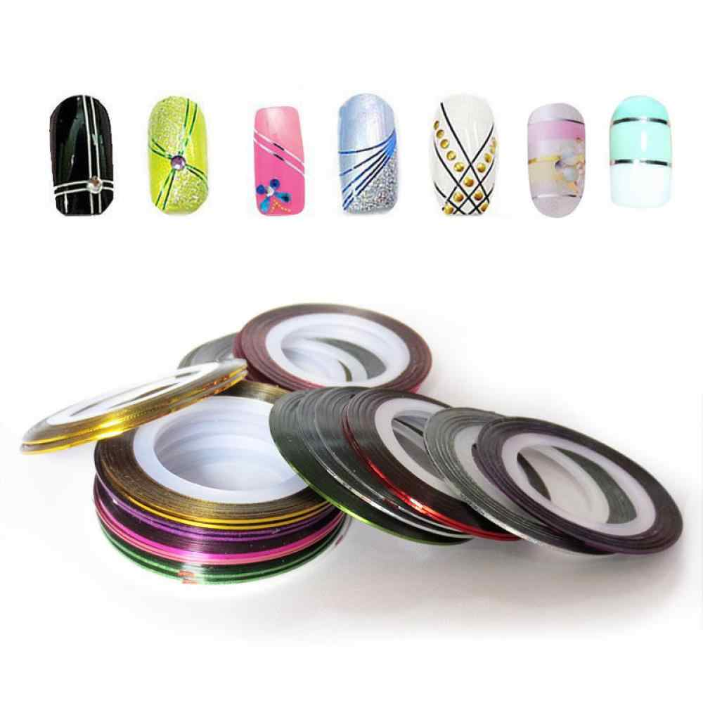 1mm 10pcs/Lot Color Glitter Nail Striping Line Tape Sticker Set Nail Art Decorations DIY Tips For Polish Gel Manicure Accessorie