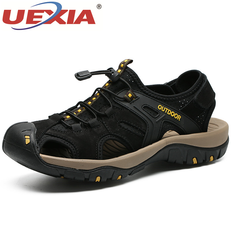 UEXIA Leather Men Sandals New Summer Men Shoes Beach Sandals for Man Fashion Brand Outdoor Casual Shoes Walking Flats Anti-slip