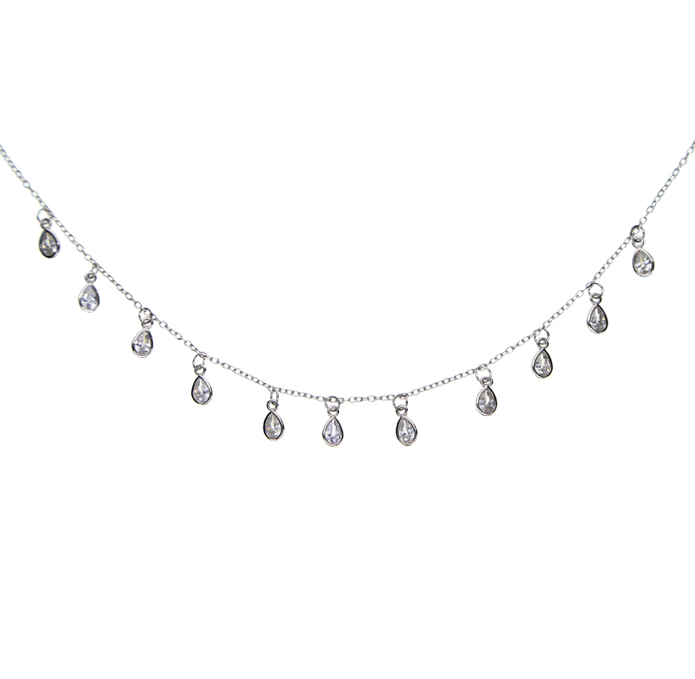 33+7cm AAA SPARKING bling drop cubic zirconia statement charm chain 925 sterling silver delicate thin chain chocker necklace