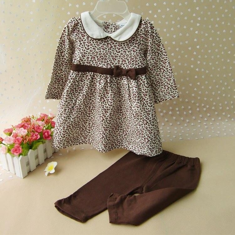 af5e2333daa Moda Niña ropa suelta camiseta vestido y Pantalones 2 Unid conjunto Niñas  Leopard princesa ropa niño ocasional traje