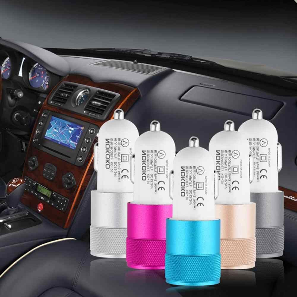 Mini ABS Dual USB cargador de coche adaptador bala forma 2 puertos enchufe para teléfono tableta carga simultáneamente dos dispositivos