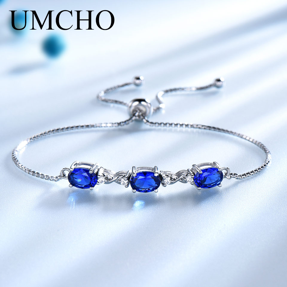 UMCHO Real 925 Silver Bracelet Oval Created Nano Blue Sapphire Bracelets & Bangles Free expansion Romantic Jewelry For Women
