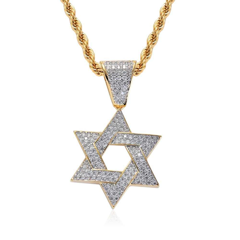 Custom Hiphop Jewelry Men's Micro Pave Cubic Zircon Star of David Charm Hexagon Necklace Iced Out Pendant Homme