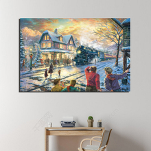 Lionel Thomas Kinkade Christmas Canvas Painting Living Room Home Decoration Modern Wall Art Oil Posters Picture Artwork