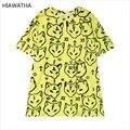 Hiawatha Mulheres Animal Impresso T-shirt Moda Harajuku Fox Amarelo T Camisas Casual Solto Tops O Pescoço Character Tees T3254
