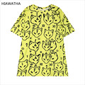 Hiawatha Women Animal Printed T-shirts Fashion Harajuku Yellow Fox T Shirts Casual Loose Tops O-neck Character Tees T3254