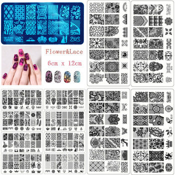 YZWLE 10PCS/LOT New Black Flower Lace 6*12CM Nail Stamping Plates Konad Stamping Nail Art Manicure Template Nail Stamp Tools