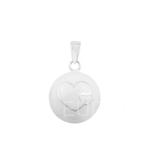 6N14NB169 6PCS/lot double hearts white ball belly pendant pregnancy chime necklace angel caller wholesales