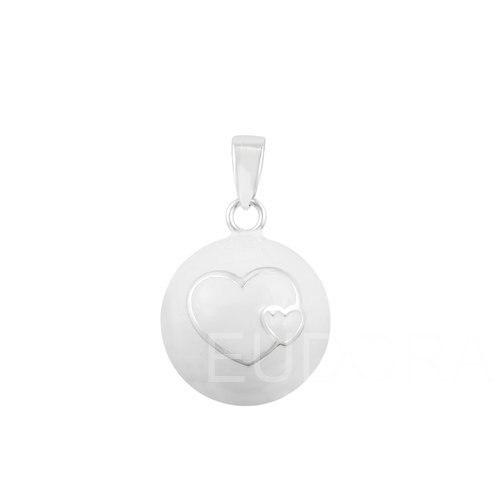 6n14nb169 6 шт./лот двойные сердца белый мяч кулон живот Беременность перезвон Ожерелье ангел абонент оптовая продажа