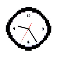 Pixel Time Clock 8 Bit Style Retro Pixel Wall Clock Black and White Jaggy Old Pixels Pixellated Analog Home Decor Gift For Geeks