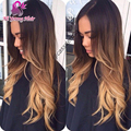 2016 venta caliente rubia Ombre sin cola llena del cordón pelucas del pelo humano brasileño onda del cuerpo del frente del cordón Ombre U parte peluca con el pelo del bebé