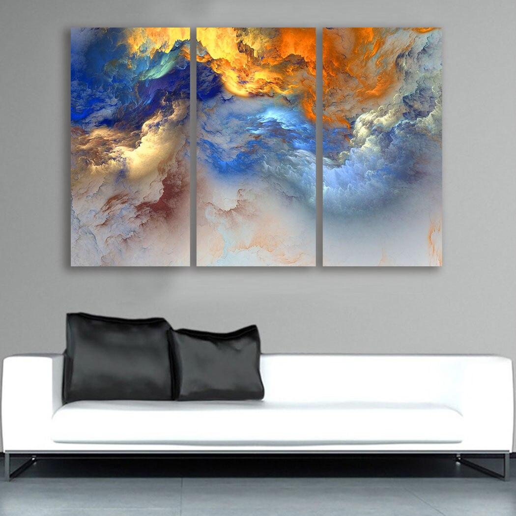 Moda obraz olejny 3 sztuk kolory-nierealne-chmury malarstwo wystrój domu na płótnie nowoczesne Wall płótno artystyczne obraz w formie plakatu drukowany na płótnie