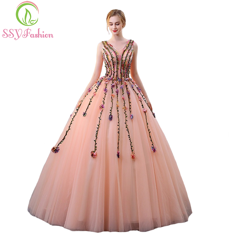 SSYFashion New High-end Luxury Evening Dress The Bride Banquet Beautiful Lace Flower V-neck Long Party Ball Gown Robe De Soiree