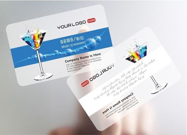 Haute Qualite Carte De Visite Transparente Deux Cotes Impression En Plastique Souple PVC Cartes