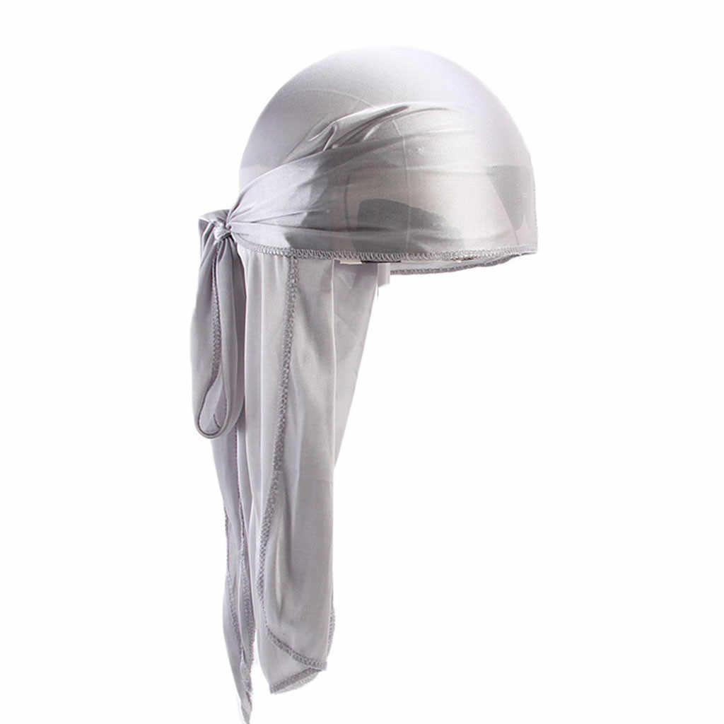 Модная Мужская/Женская шелковая бандана из полиэстера, шапка однотонная, дюраг, головной убор, головной убор, Подарочный шарф, женский головной платок