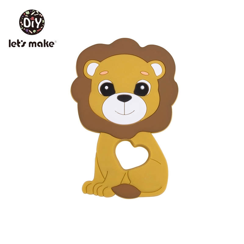 Let's Make 1pc Baby Teether Bpa Free Silicone Animal Lion Baby Teething Toys For Teeth Diy Necklace Food Grade Silicone Teethers