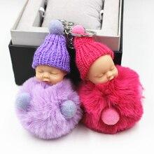 Hot Sell Cute Sleeping Baby Doll Key Chain Real Rex Rabbit Fur Keychain Fluffy Pom Pom Keyring Bag Car Trinket Women Gift