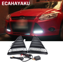 ECAHAYAKU 1 set Waterproof Car styling  LED Daytime Running Light DRL fog driving lamp For Ford Focus With Turning Signal Lights free shipping drl for ford focus 2014 2015 2016 car daytime running lights auto safety led day driving light with lamp door