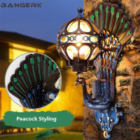 Creative Peacock Wall Lamps Outdoor LED Porch Lights IP65 Waterproof Wall Sconce Garden Balcony Aisle Aluminum Decor Lighting