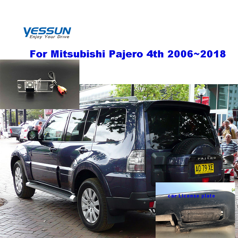 Yessun Car License plate rear camera For Mitsubishi Pajero 4 2006 2007 2008 2009 2010 2011 2012 ~2018 car view camera Parking image