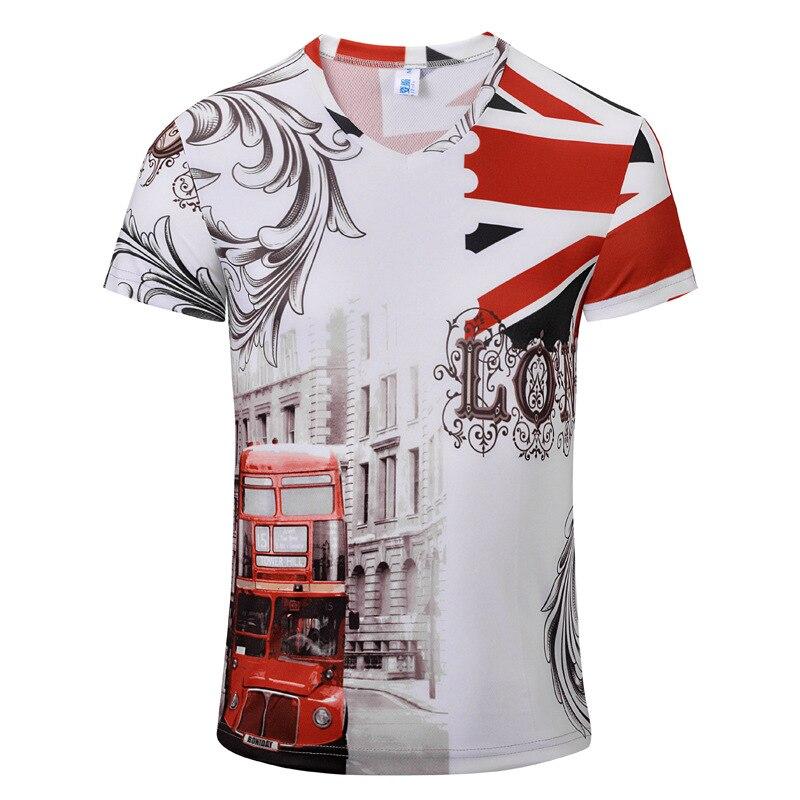Alisa 2016 Summer V Neck T shirt Retro Newest Style 3D Printed T Shirt Men