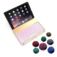 High Quality 7 Colors Backlit Light Aluminum Alloy Wireless Bluetooth Keyboard Case Cover For IPad 9
