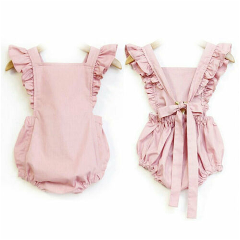Toddler Baby Girl Ruffle Tie Wraps Solid Romper Playsuit Bodysuit Outfits Tops Hot New Baby Bodysuit Fly Sleeve Lace Up Bodysuit